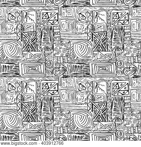 African Ethnic Style Black And Whitye Graphic Ink Hand-drawn Seamless Pattern Illustration Backgroun
