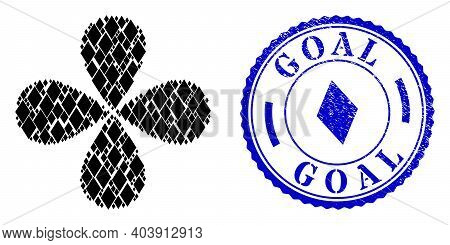 Rhombus Centrifugal Flower With Four Petals, And Blue Round Goal Rubber Watermark With Icon Inside.