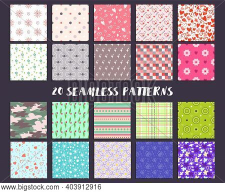 A Large Set Of Seamless Patterns With Hearts, Flowers And Other Abstract Elements. Festive Decoratio