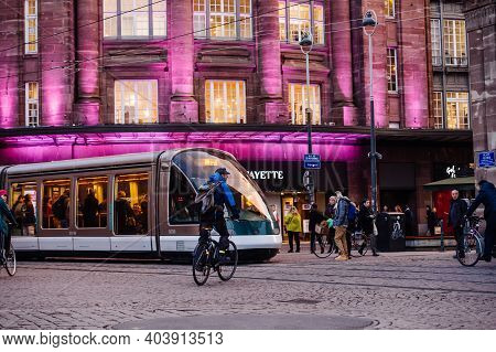 Strasbourg, France - Feb 14, 2019: Busy Central Part Of The City With Lots Of Pedestrians, Tramway I
