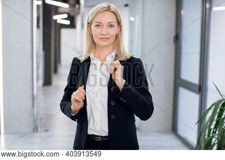 People, Business, Office, Company Worker Concept. Close Up Portrait Of Charming Smiling 40 Years Old