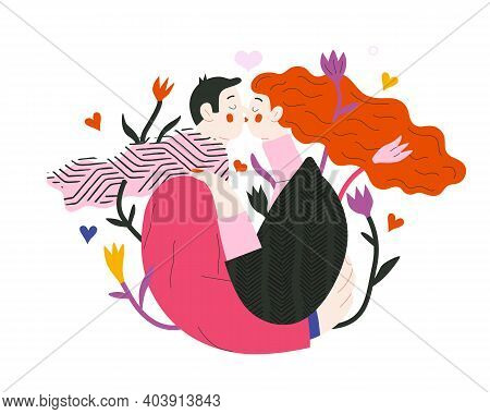 Couple In Love - Valentines Day Graphics. Modern Flat Vector Concept Illustration - A Young Hetorese