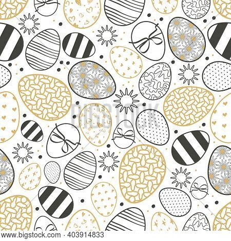 Happy Easter Seamless Pattern With Eggs. The Symbol Of The Christian Spring Holiday. Festive Decorat