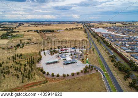 Melbourne, Australia - Circa January 2020: Aerial View Of Western Freeway Passing Near Rockbank Subu