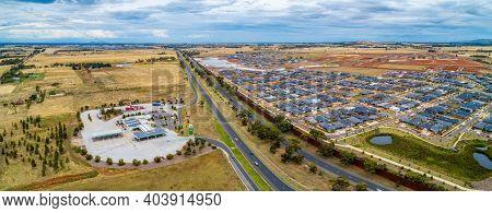 Melbourne, Australia - Circa January 2020: Truck Stop Near Western Freeway And Rockbank Suburb