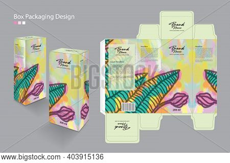 Packaging Box, Packaging Design Template For Cosmetic, Supplement, Spa, Beauty, Food, Hair, Skin, Lo