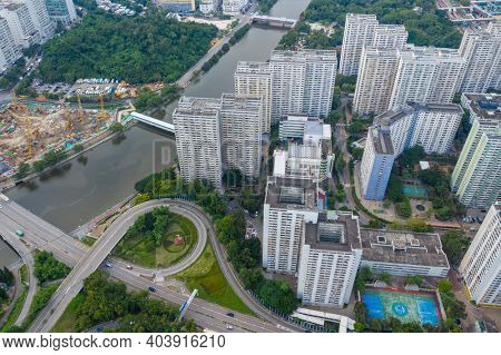 Tuen Mun, Hong Kong 26 September 2020: Top view of Hong Kong city