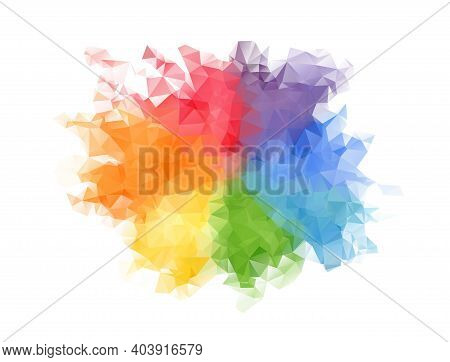 Bright Rainbow Colors Polygonal Rounded Stain. Colorful Vibrant Colors Blob With Splashes For Lgbt P