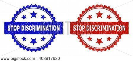 Rosette Stop Discrimination Watermarks. Flat Vector Textured Watermarks With Stop Discrimination Phr