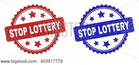 Rosette Stop Lottery Seal Stamps. Flat Vector Scratched Seal Stamps With Stop Lottery Title Inside R