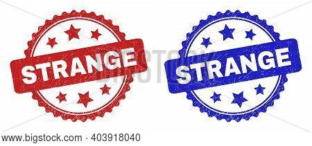 Rosette Strange Seal Stamps. Flat Vector Grunge Seal Stamps With Strange Message Inside Rosette Shap