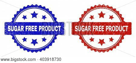 Rosette Sugar Free Product Seal Stamps. Flat Vector Distress Seal Stamps With Sugar Free Product Mes
