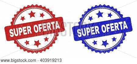 Rosette Super Oferta Stamps. Flat Vector Grunge Stamps With Super Oferta Phrase Inside Rosette With