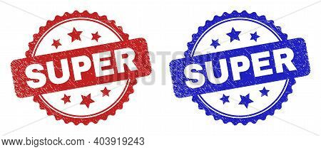 Rosette Super Seal Stamps. Flat Vector Distress Stamps With Super Text Inside Rosette With Stars, In