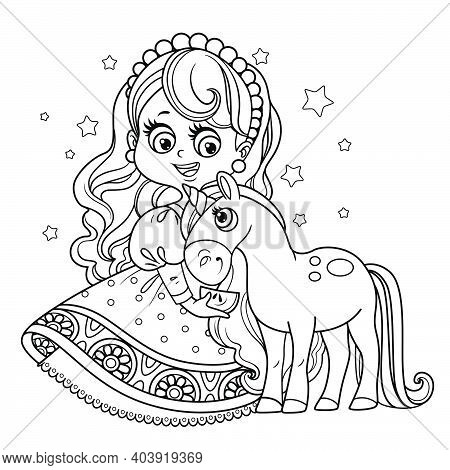 Cute Princess In Ball Dress With Unicorn Baby Outlined For Coloring Book