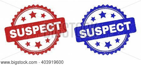 Rosette Suspect Seal Stamps. Flat Vector Textured Seal Stamps With Suspect Phrase Inside Rosette Wit