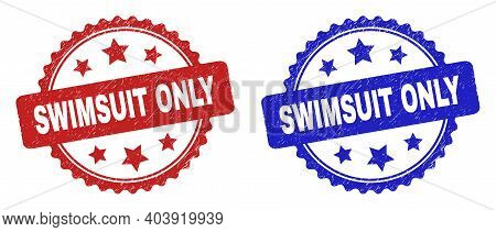 Rosette Swimsuit Only Stamps. Flat Vector Scratched Seal Stamps With Swimsuit Only Text Inside Roset