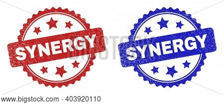 Rosette Synergy Seal Stamps. Flat Vector Textured Seal Stamps With Synergy Phrase Inside Rosette Wit