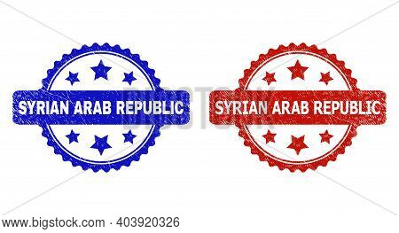 Rosette Syrian Arab Republic Seal Stamps. Flat Vector Distress Seal Stamps With Syrian Arab Republic