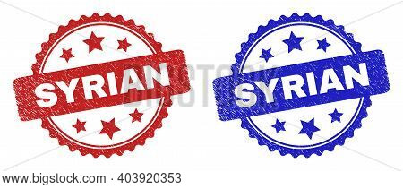 Rosette Syrian Seal Stamps. Flat Vector Scratched Seal Stamps With Syrian Phrase Inside Rosette With