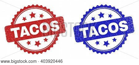 Rosette Tacos Stamps. Flat Vector Grunge Stamps With Tacos Caption Inside Rosette Shape With Stars,