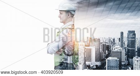 Infrastructure Construction Building And Engineering Futuristic Concept, Double Exposure Of Construc