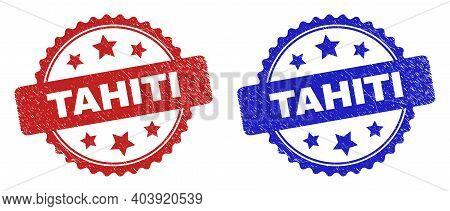 Rosette Tahiti Seal Stamps. Flat Vector Grunge Seal Stamps With Tahiti Phrase Inside Rosette With St