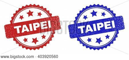 Rosette Taipei Seal Stamps. Flat Vector Scratched Seal Stamps With Taipei Message Inside Rosette Wit