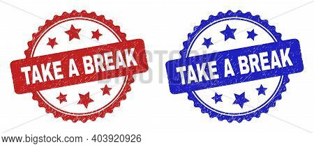 Rosette Take A Break Seals. Flat Vector Grunge Seal Stamps With Take A Break Text Inside Rosette Wit