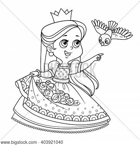 Cute Princess With Roses Flowers In The Hem And Bird Flying To The Meeting Outlined For Coloring Boo