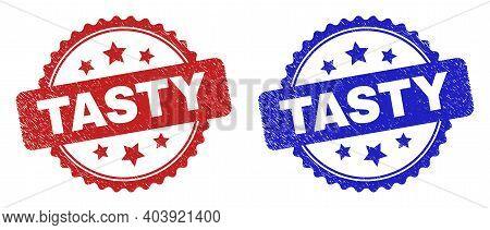Rosette Tasty Watermarks. Flat Vector Grunge Watermarks With Tasty Phrase Inside Rosette Shape With