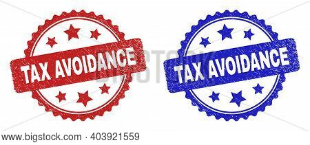 Rosette Tax Avoidance Seal Stamps. Flat Vector Scratched Stamps With Tax Avoidance Title Inside Rose
