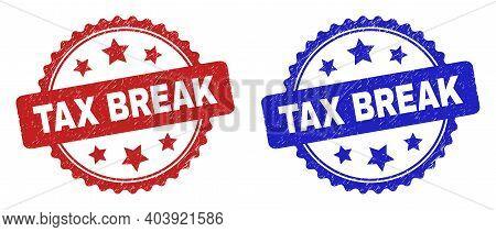 Rosette Tax Break Seal Stamps. Flat Vector Distress Seal Stamps With Tax Break Title Inside Rosette