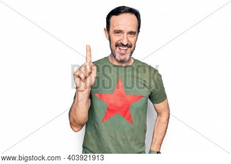 Middle age handsome man wearing t-shirt with revolutionary red star over white background smiling with an idea or question pointing finger up with happy face, number one