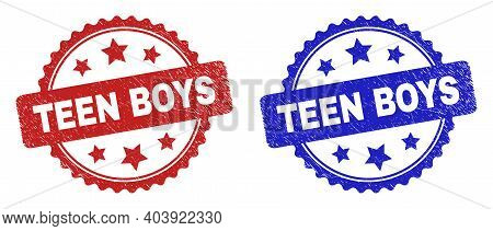 Rosette Teen Boys Watermarks. Flat Vector Grunge Seal Stamps With Teen Boys Title Inside Rosette Wit