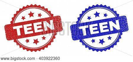Rosette Teen Watermarks. Flat Vector Distress Watermarks With Teen Title Inside Rosette With Stars,