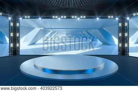 Exposition Stage With Blank Billboard, 3D Rendering.