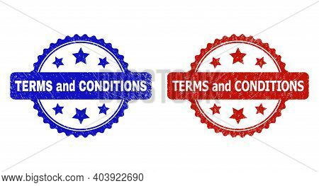Rosette Terms And Conditions Watermarks. Flat Vector Scratched Watermarks With Terms And Conditions