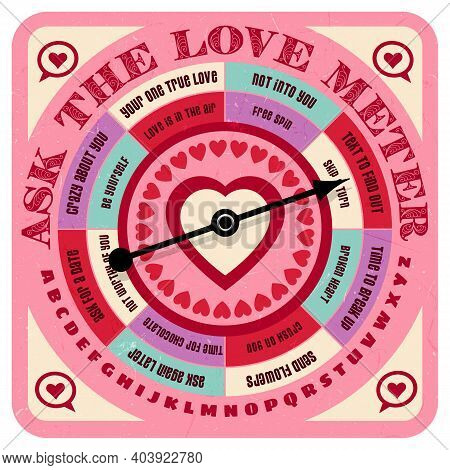 Retro Romance Advice Game And Love Predictor With Spinning Arrow, Answers, Letters And Heart Symbols