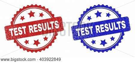Rosette Test Results Watermarks. Flat Vector Distress Watermarks With Test Results Phrase Inside Ros