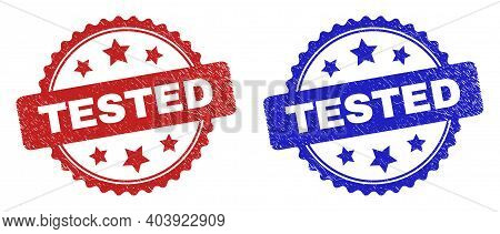Rosette Tested Watermarks. Flat Vector Textured Watermarks With Tested Phrase Inside Rosette Shape W