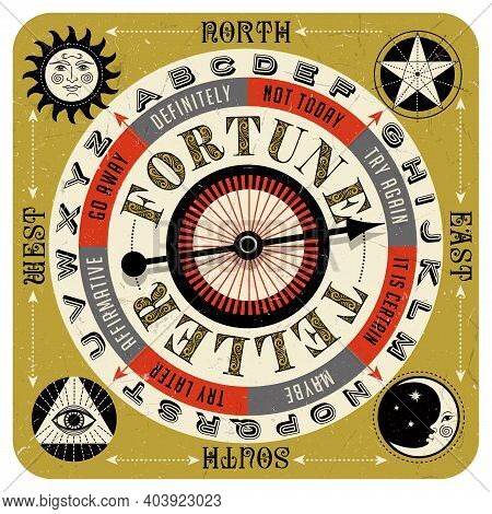 Vintage Style Fortune Teller Spin Game With Spinning Arrow, Answers, Letters And Mystic Symbols. Vec