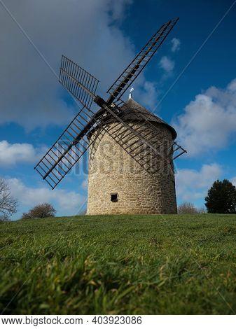Old Rustic Historic Windmill On A Hill Mont Dol Moulin Dol De Bretagne Saint Malo Ille Et Vilaine Br