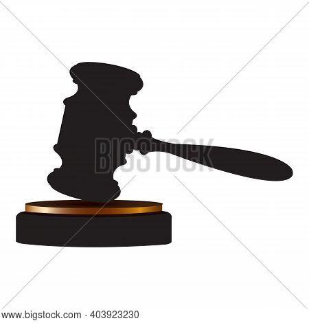 Judges Gavel. Judges Gavel Hammer For Adjudication Of Sentences And Bills, With A Wooden Stand. Law