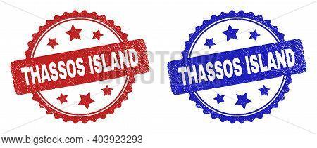 Rosette Thassos Island Watermarks. Flat Vector Grunge Watermarks With Thassos Island Title Inside Ro