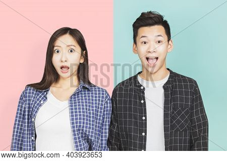 Shocked And Surprised Face Of  Couple Lover