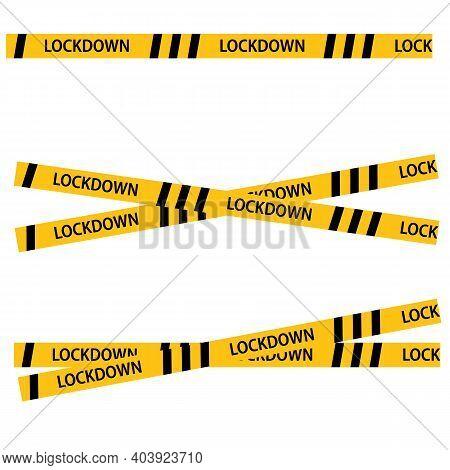 Lockdown Barrier Tape On White Background. Warning Yellow Dangerous Symbol. Virus Lockdown Barrier T