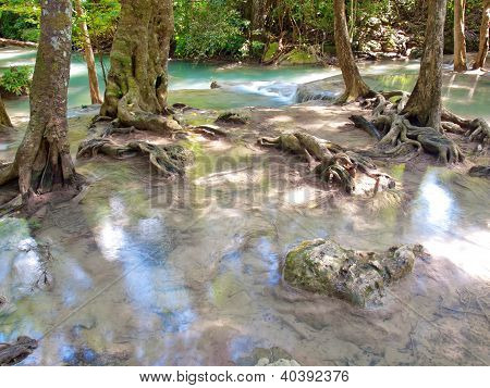 Beautiful waterfall in deep forest in Thailand poster