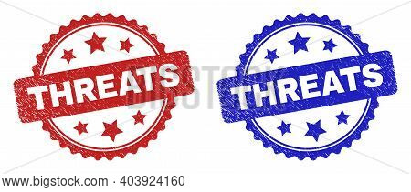 Rosette Threats Watermarks. Flat Vector Grunge Watermarks With Threats Caption Inside Rosette With S