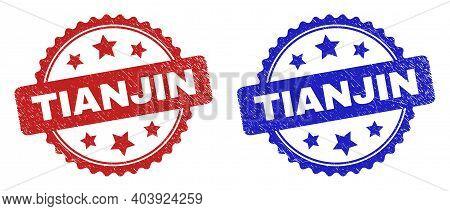 Rosette Tianjin Watermarks. Flat Vector Textured Watermarks With Tianjin Phrase Inside Rosette Shape